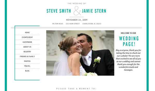 Wedding Websites Ideas: Just Fresh Concepts